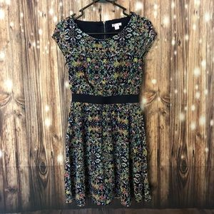 Dark Floral Fit and Flare Dress